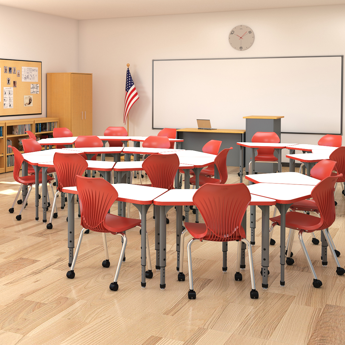 Apex Trapezoid Student Desk Marco Group Inc